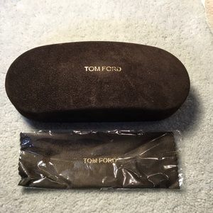 Tom Ford Accessories - Brown clamshell glasses case and cloth