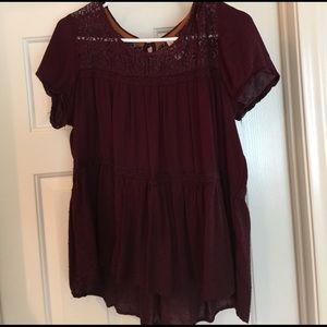 exhilaration Tops - Exhilaration flowy blouse dark plum L