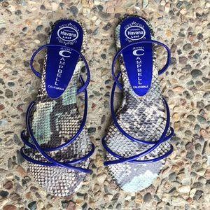 Jeffrey Campbell Shoes - Jeffrey Campbell blue snakeskin sandals Size 6