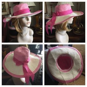 Vintage Accessories - Vintage Pink & White Straw Floppy Hat