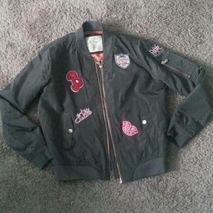 Army Olive Green Bomber Jacket With Patches