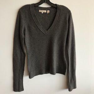Inhabit Ribbed Gray/Brown Cashmere V Neck Sweater