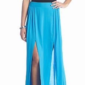 Lily White Dresses & Skirts - 🆕 Lily White Blue Double Slit Maxi Skirt Size M