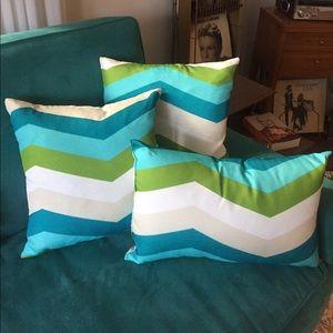 Blue & Green Chevron Throw Pillows