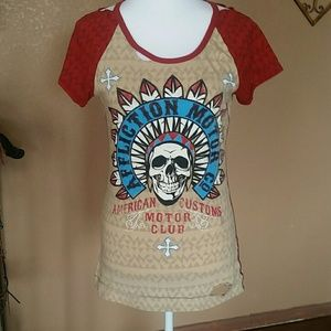 Affliction Tops - Affliction motor club cut out top