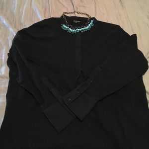 WHO WHAT WEAR  Tops - WHO WHAT WEAR basic black blouse