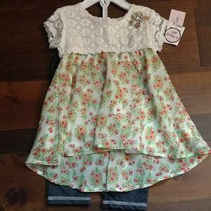Little Lass Other - NWT 2-pc Little Lass Lace Flower top leggings