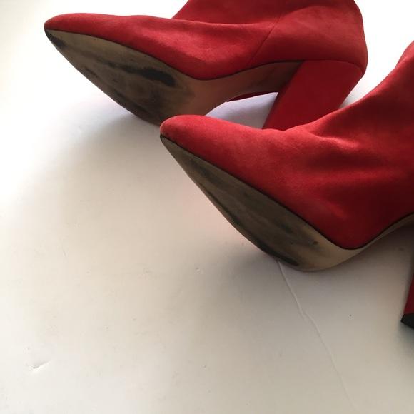 Zara Shoes - Red Suede Zara Booties Size 41