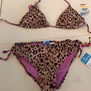 California Waves Other - Triangle top and side tie bottoms-cheetah