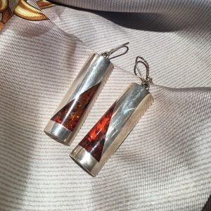 Silver & Amber Earrings 🍁
