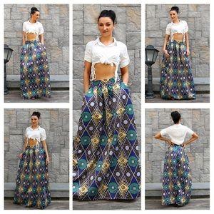 Dresses & Skirts - New African Print Satin Maxi Skirt w/Pockets