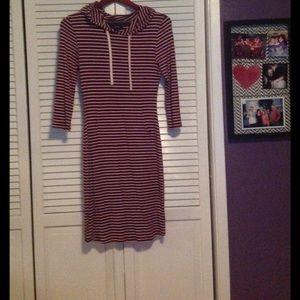 Wine colored strip midi street style midi dress!