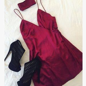 Sabo Skirt Dresses & Skirts - Sabo Skirt Silk Satin Red Chic Wrap party Dress