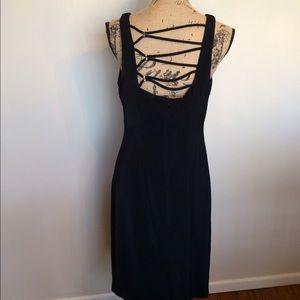 CDC elegant little black dress w/back trim