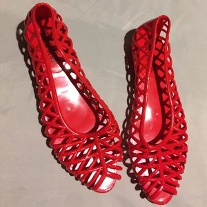 American Apparel Shoes - American Apparel Red Jelly Flats in Size 6