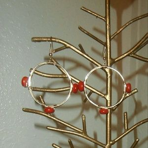 Gold wire wrapped bead earrings