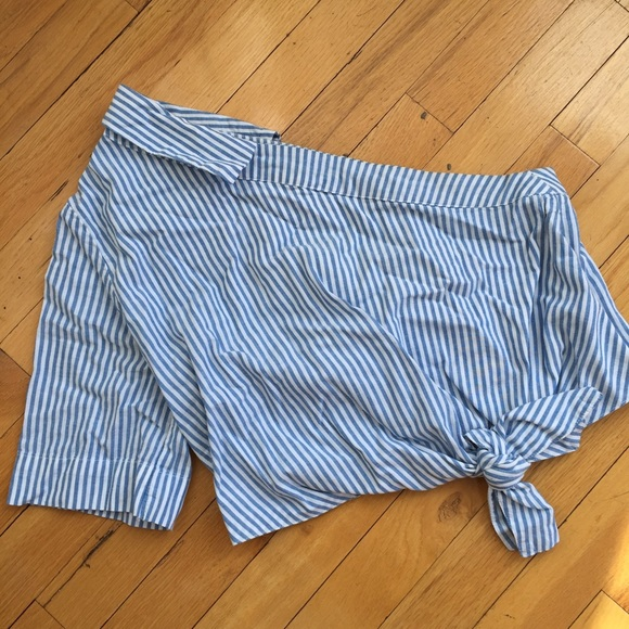 Tops - Zara stripe one shoulder knot top Size Medium