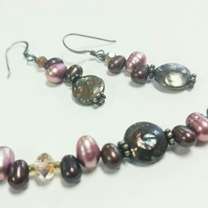 Jewelry - Chocolate Coin Pearls Sterling Silver Necklace Set