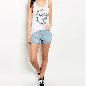 Boutique Pants - Last 1 Summer Dolphin Hem Denim Shorts