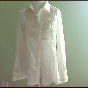 Reba Tops - Reba white tuxedo shirt S