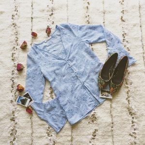 Honey Punch Tops - • Romantic Boho Light Blue Plunge Neck Blouse •