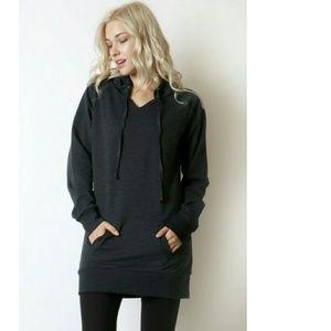Tunic length hoodie sweatshirt New black or Navy