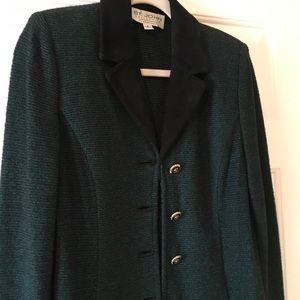 St. John Collection Green and Black Knit Blazer