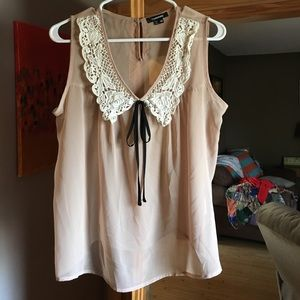 My Michelle Tops - My Michelle sheer tan blouse