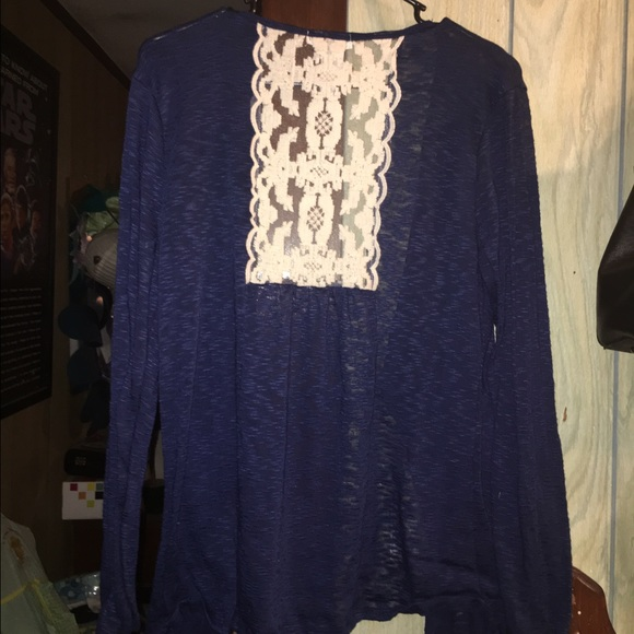 56% off M Fasis Tops - Navy blue sheer cardigan with lace detail ...