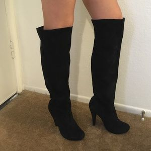 Bakers Shoes - Bakers black suede over the knee boots sz 7
