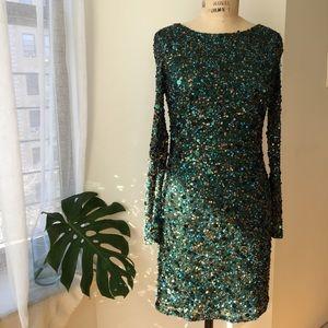 Aidan Mattox Dresses & Skirts - AIDAN MATTOX EMERALD SEQUIN DRESA SIZE 6