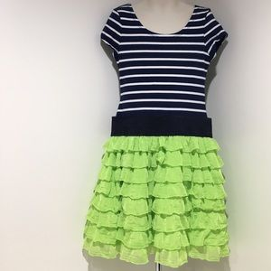 Bonnie Jean Other - GUC Girl 6X Navy/White Stripe & Lime Ruffle Dress