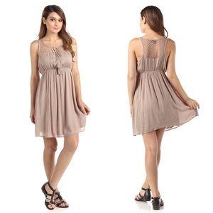 fairlygirly Dresses & Skirts - Boho Chic Taupe Sleeveless Empire Waist Dress