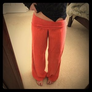 Salmon colored, fold over linen pants