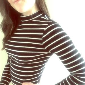 Black and White Mock Neck Striped Crop Top