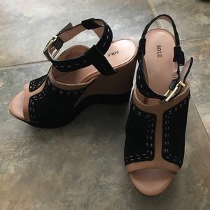 Sole Society Suede Leather Platform Wedges