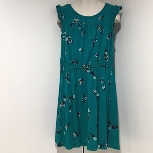 EUC Girls M Green Small Flower Gap Kids Dress