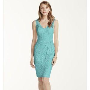 David's Bridal Dresses & Skirts - Short tank lace v neckline aqua dress
