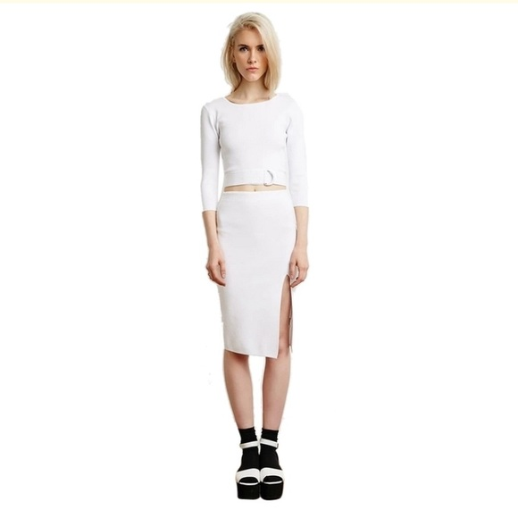 Forever 21 Dresses & Skirts - Forever 21 white crop top slit skirt set