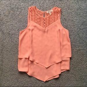 Monteau Peach Crochet Layered Top