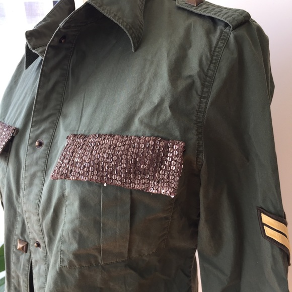 Tops - Son of John army sequin top size medium