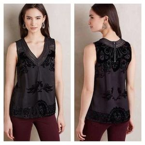 Anthropologie Tops - Black Anthropologie Blouse with Velvet Accents