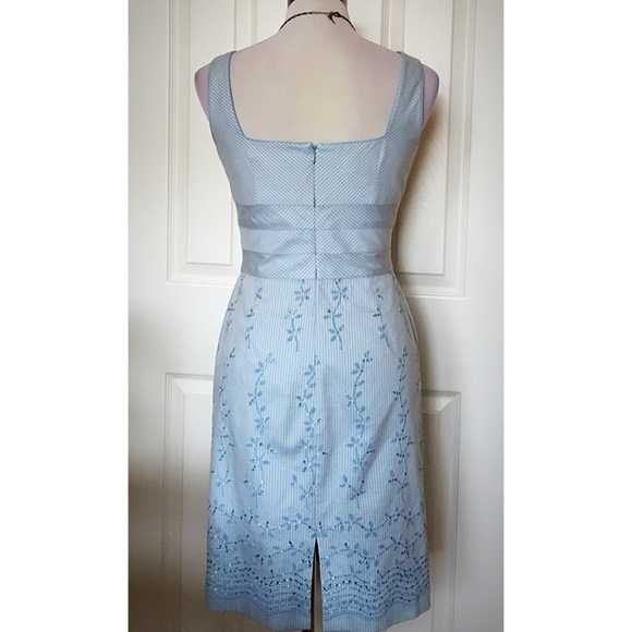 Talbots pastel blue embroidered pencil dress
