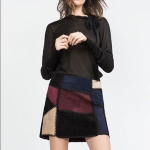 Zara Dresses & Skirts - REAL LEATHER patchwork skirt