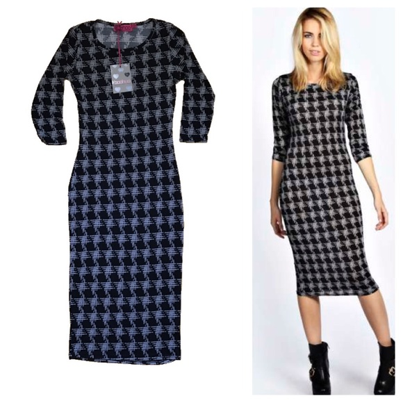 e6d76df34ac Boohoo NWT Macie Houndstooth Midi Dress