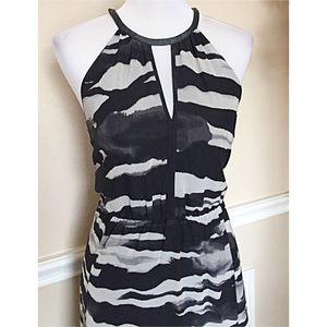 H & M chiffon, black and white maxi dress