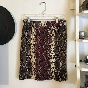 Calvin Klein Animal Print Pencil Skirt (Petite)