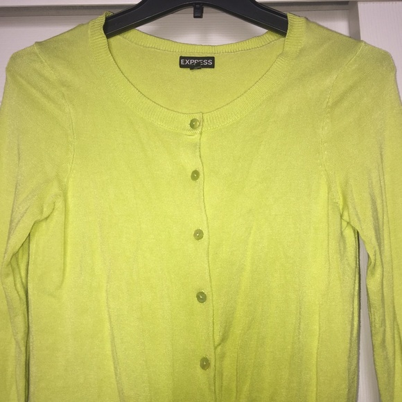 72% off Express Sweaters - EXPRESS | Neon Yellow Cardigan Sweater ...