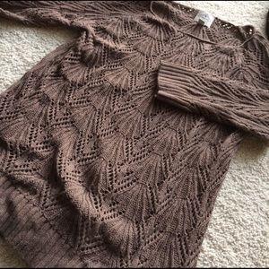 St. John's Bay Tops - Brown crochet sweater.