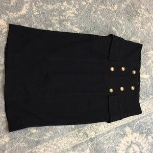 Diane von Furstenberg Dresses & Skirts - DVF Black Double Breasted Midi Skirt